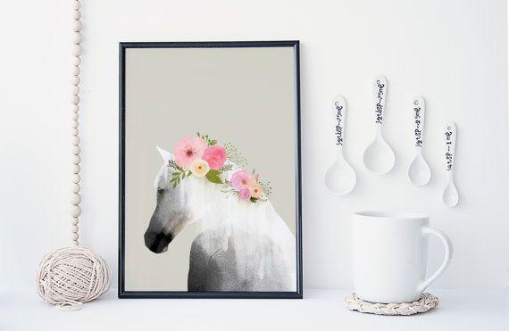 Paard kunst print kunst aan de muur bloem poster door WhiteDoePrints