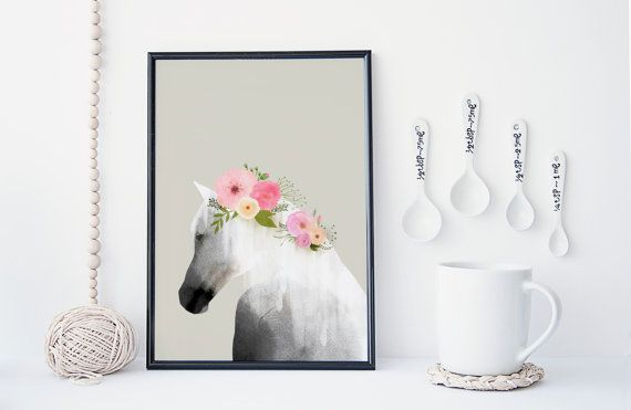 Horse art print, wall art, flower poster,  animal art, horse watercolor, home wall decor, apartment wall art, horse poster, nursery decor