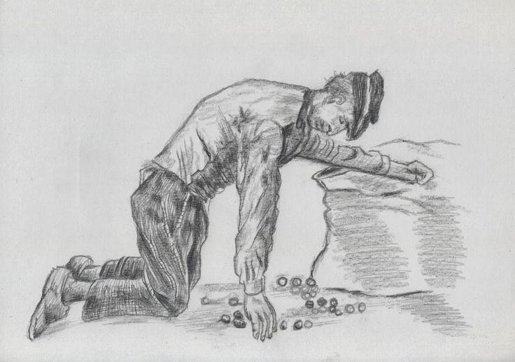 Man Putting Potatoes in a Sack - as an Van Gogh. Eugene Gwasileus