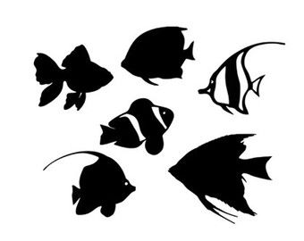 Tropical Fish Stencil Svg Dxf File Instant Download