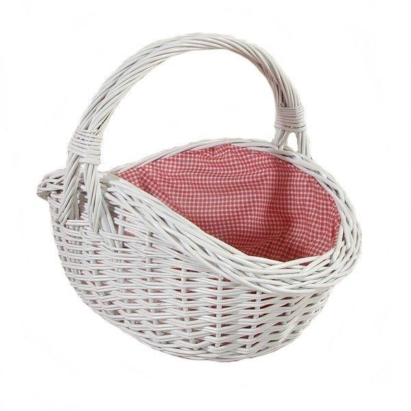 """Koszyk wiklinowy """"Indorek"""" - biały wyściełany materiałem wzór biało czerwona krateczka"""