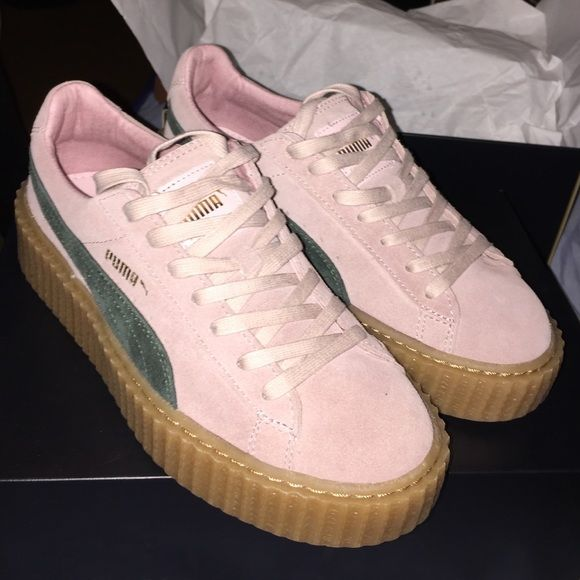 Puma Suede Creepers Sold out online, BRAND NEW w/ box. FENTY Puma suede creepers in a pink suede with green swoosh and oatmeal sole. Taking offers! Starting price: $250 $50 less on ♏️ercari Puma Shoes Sneakers