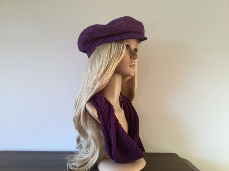 Cap sewn from Harris Tweed - purple - pinned by pin4etsy.com