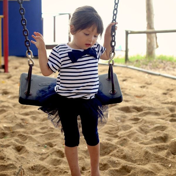 Navy and white top and bottoms with tutu detail. Perfect for the little beach adventurer.  Vintage inspired children's boutique -     http://babeandco.com.au/collections/girls-autumn-winter-collection/products/two-piece-leggings-and-striped-top