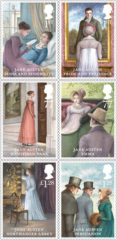 Jane Austen stamps, issued 21 February 2013.  Artwork by Angela Barrett (British, 1955-    )