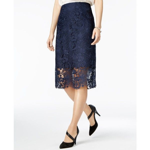 Bar Iii Crochet-Lace Pencil Skirt, ($47) ❤ liked on Polyvore featuring skirts, navy blazer, white pencil skirt, knee length pencil skirt, navy blue skirt, navy pencil skirt and white knee length pencil skirt