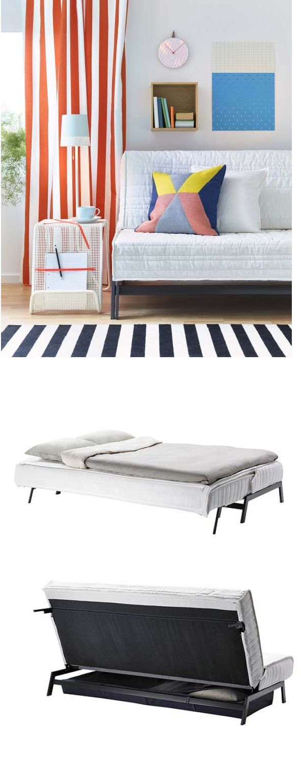 """The KARLABY sofa bed has several different mattresses to choose from, so you can find the one that's just right for you. Convert to a bed without removing the cover. Just lift the frame until you hear a """"click"""", then ease it back until you hear a """"clack."""""""