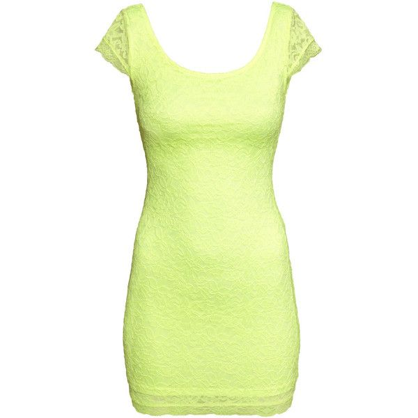 H&M Short lace dress ($6.24) ❤ liked on Polyvore featuring dresses, vestidos, neon yellow, neon yellow dress, lace dress, short lace dress, short sleeve jersey dress and short-sleeve maxi dresses