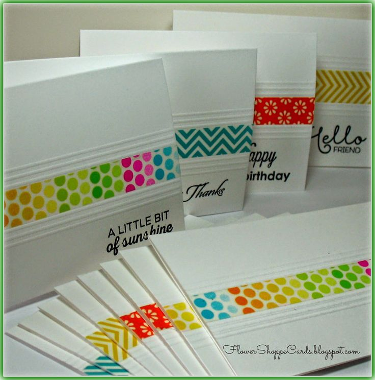 Flower Shoppe Cards: Washi Tape Note Card Set - these would also be cute with a strip of leftover gelli plate art