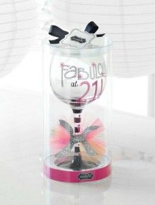 Awesome 21st Birthday Gifts: Mud Pie Fabulous at 21 Wine Glass