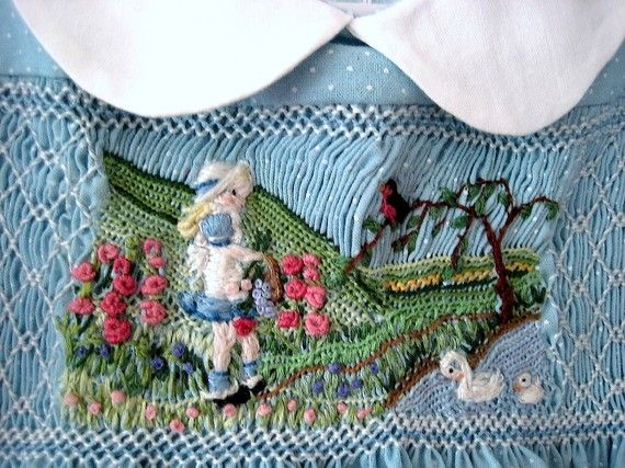 Hand Smocked Hand Embroidered Girls Dress  Size 2/ Gathering Flowers in the Country. $205.00, via Etsy.
