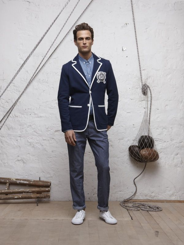 Piped blazer and pinstripey pants!  Men's Fashion: Sport Coats & Blazers | Fashion Hungry Blog