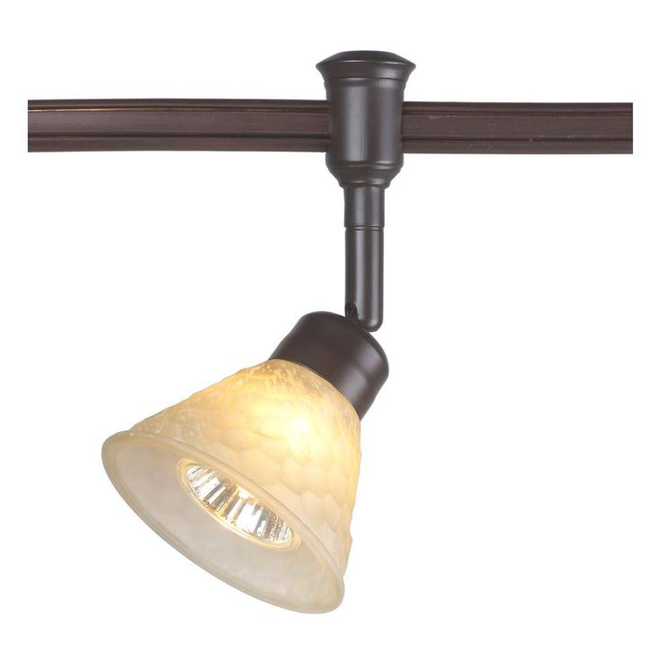 Commercial Electric 1 Light Bronze Flexible Track Lighting Head With Hammered Gl Shade