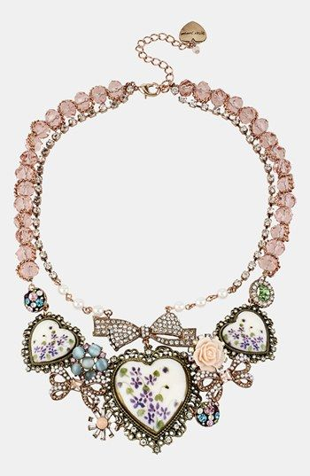 Betsey Johnson Porcelain Heart Bib Necklace available at #Nordstrom ! $145.00 LOVE THIS NECKLACE! !