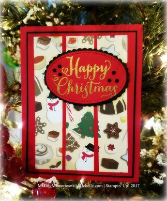 This is a great sketch to use when you have scraps of designer series paper, or a large image that you want to break up into something more usable. Christmas Around the World, Stampin' Up! 2017 Making Memories with Michelle