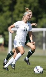 The heat was turned up for the Michigan State women's soccer game against Milwaukee at midday on Sunday in East Lansing. The Spartans, who improve to 2-0, won 5-2 against the Panthers thanks to an offensive ambush led by forwards Rachel Van Poppelen and Allyson Krause. Twenty-five Spartans saw action in today's game as MSU ended the game scoring on five of their nine shots on goal.