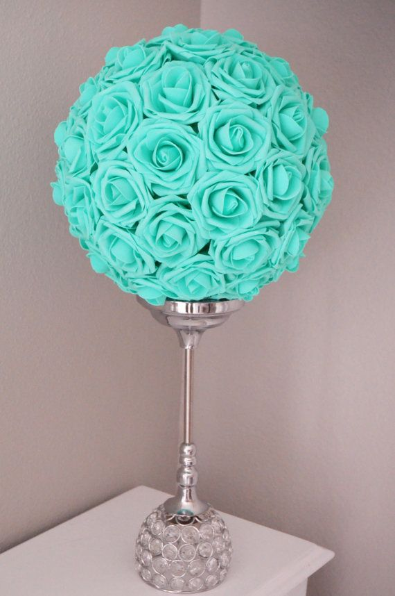MINT Robins Egg Blue Pool Blue Kissing Ball, Real Touch Rose flower ball, pomander, WEDDING CENTERPIECE Wedding/Bridal Shower , flower girl