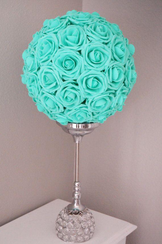 MINT Robins Egg Blue Pool Blue Kissing Ball, Real Touch Rose flower ball, pomander, WEDDING CENTERPIECE Wedding/Bridal Shower , flower girl