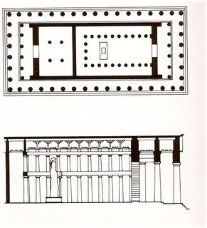 Planta y alzada del Partenón. Acrópolis de Atenas. Arte griego.
