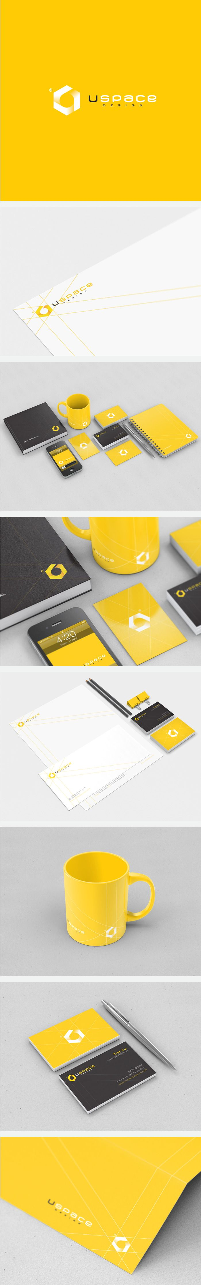 uSpace logo and branding design by Triptic. Black and white and yellow corporate #stationery suite design.