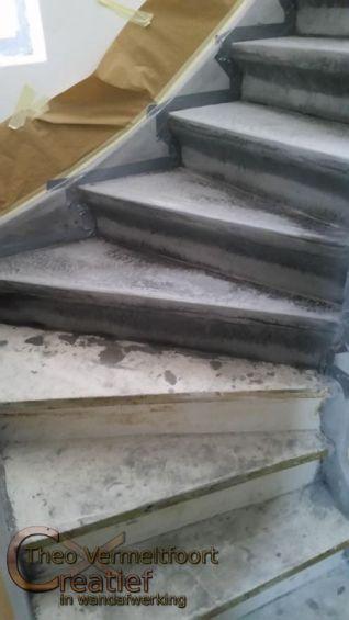 betonnen trap, betonlook op hout, betonverf trap interieur