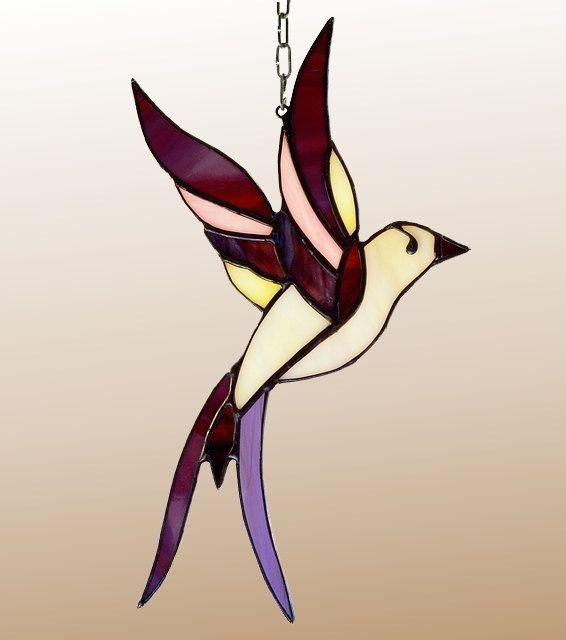 Purple stained glass bird - Tiffany glass bird. A stained glass suncatcher.
