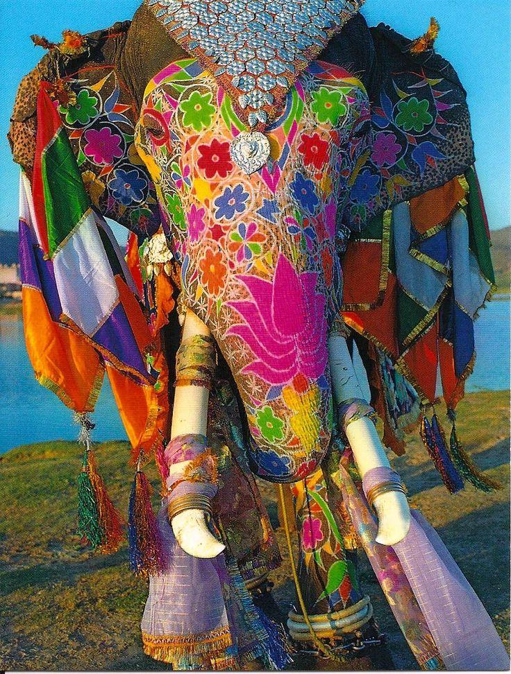 Éléphant peint du Rajasthan