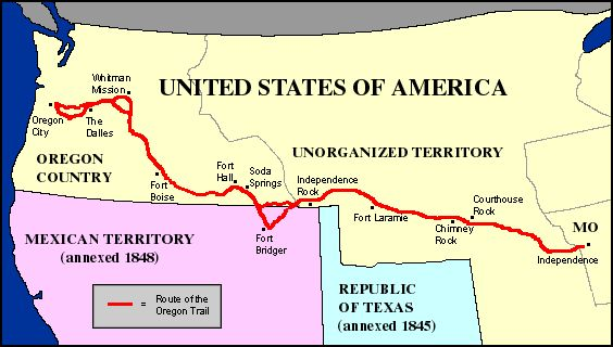 The Oregon Trail was a trail that stretched over 2,200 miles. It was a wagon trail that connected the Missouri River to the valleys in Oregon. It covered many different states such as Oregon, Kansas, Nebraska, Missouri, Idaho and Wyoming. The Oregon trail was used by many people like settlers, farmers, miners and their families.