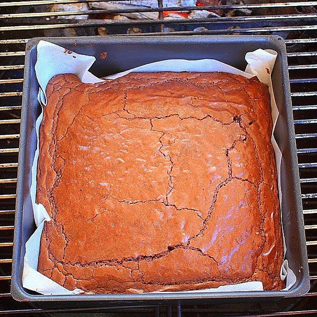 Cherry smoked brownies cooked in the Weber Kettle using thebigmansworld 3 ingredient brownie recipe.