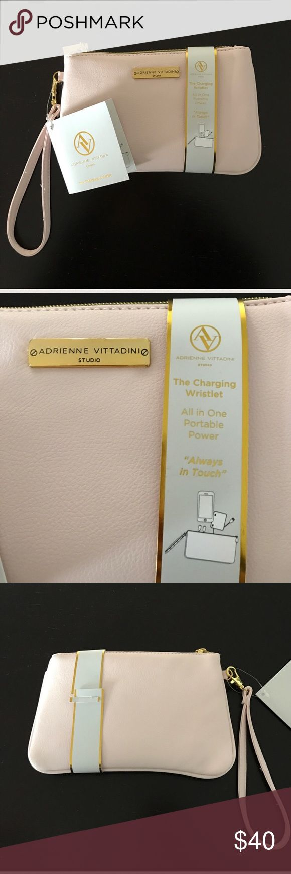 NWT Adrienne Vittadini Charging Wristlet All in one portable power wristlet. Comes with removable, reusable, and Portable USB charger. Adrienne Vittadini Bags Clutches & Wristlets
