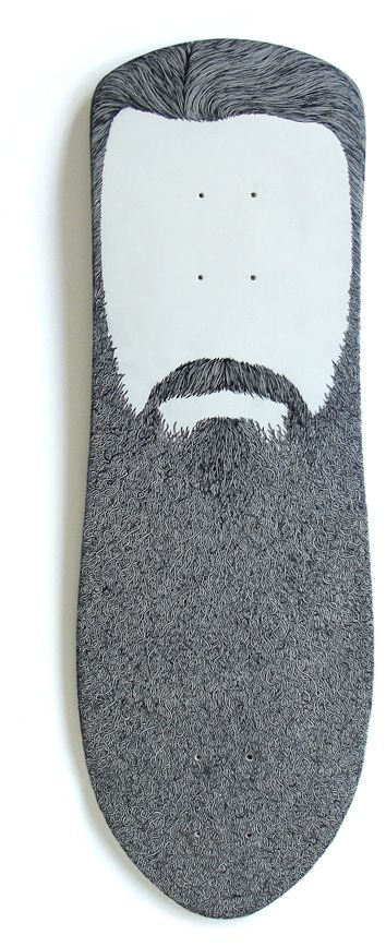 this is a skateboard. thats right a bearded skateboard.