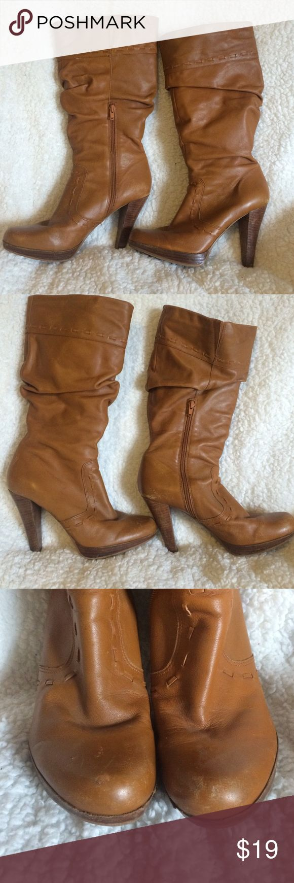 Guess by Marciano Camel boots Zip up with stretch band at calf. These boots are in good condition but definitely loved with lots of wear marks on heels and toe. Still lots of love left! Great quality. Size 10 M. Camel color. Guess by Marciano Shoes Heeled Boots