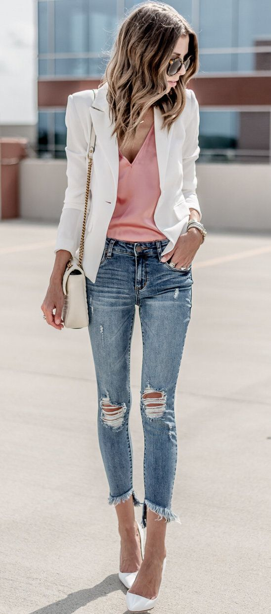 #summer #outfits A Classic White Blazer...always A Closet Staple It's 40% Off (now Just $44!) + Also Comes In Black. (I'm Wearing XS For Reference). My Denim Sold Out, But Liked A Couple Favorite Similar Pairs!