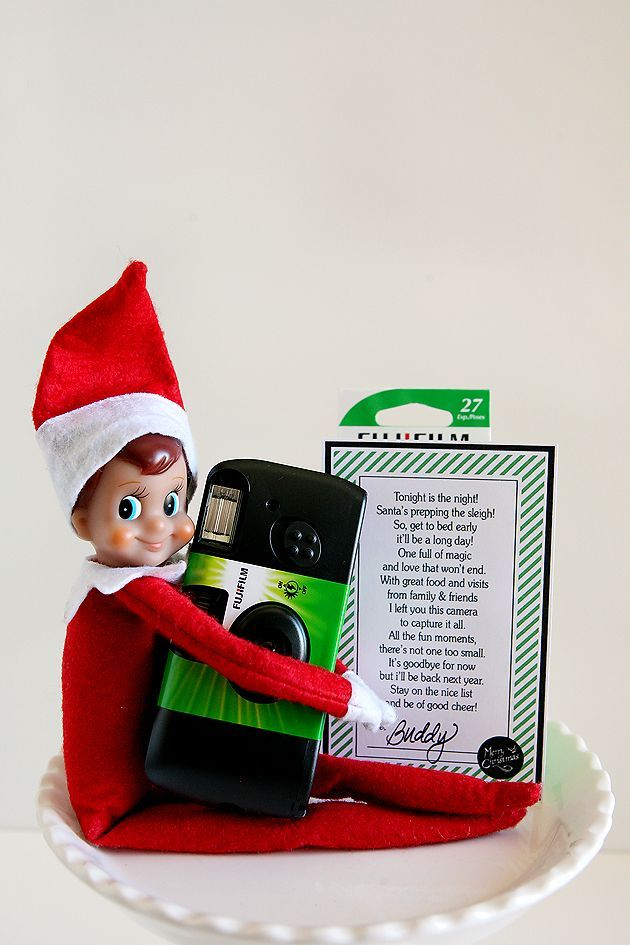 Elf on The Shelf Goodbye Gift - elf brings a disposable camera on their last day visiting along with a fun printable poem.
