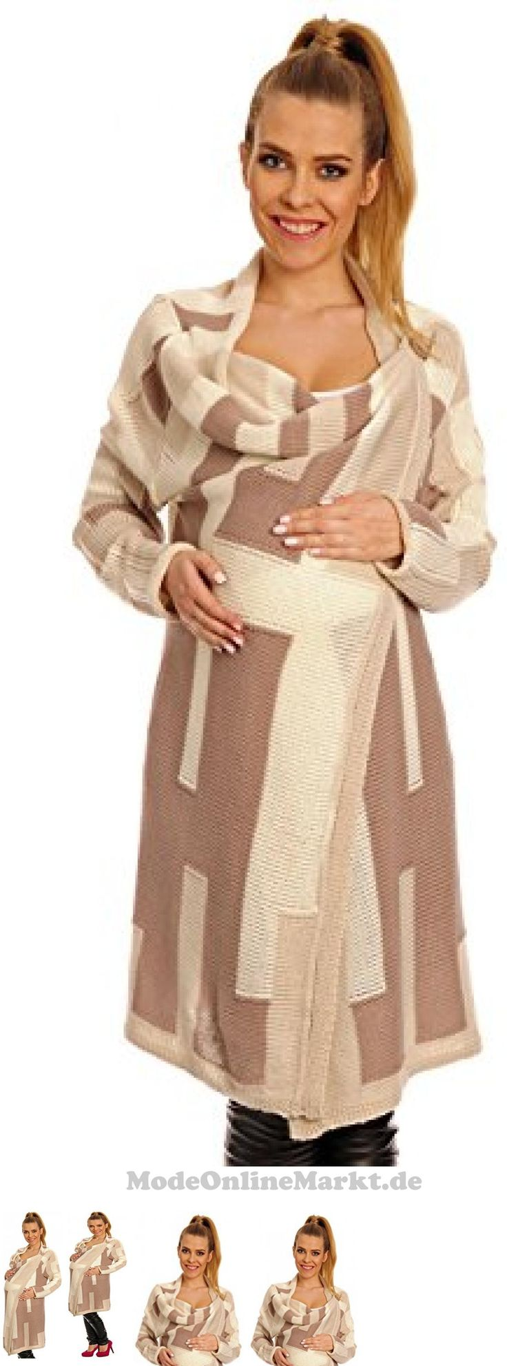 #Happy #Mama #Damen # #8211 #Umstands #Stretch #Strickjacke #Wasserfall #Jacke #Blazer #277p #Beige #Farbblock #38 #42 #7736797