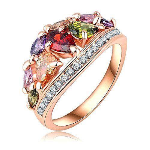 Gnzoe Fashion Jewelry Silver Plated Women Finger Rings Elegant Drop Shape Wedding Band CZ Zircon