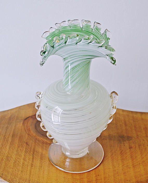 Art Glass Vase Vintage Green And White Swirl Glass Blown