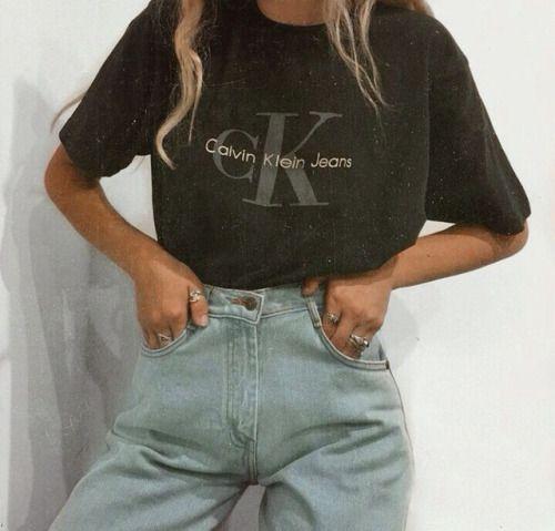 Vintage Calvin Klein. High weight denim jeans. Tumblr fashion.