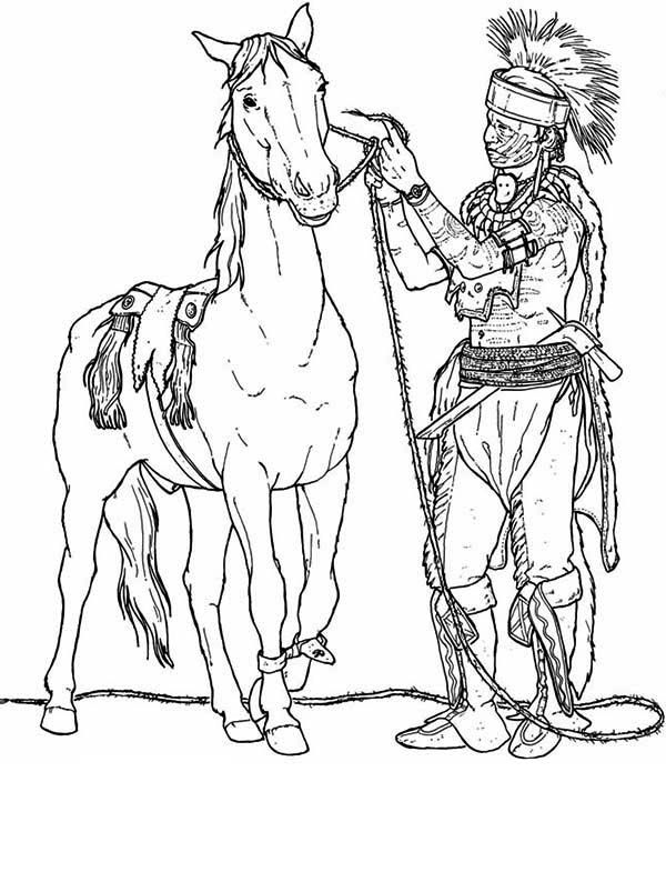 native american preparing his horse coloring page