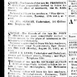 Stanway, John B. Notices for Death on 24th Aug and Funeral to Melb General Cemetery. The Argus, 26 Aug 1895, p. 1, 'Family notices'.
