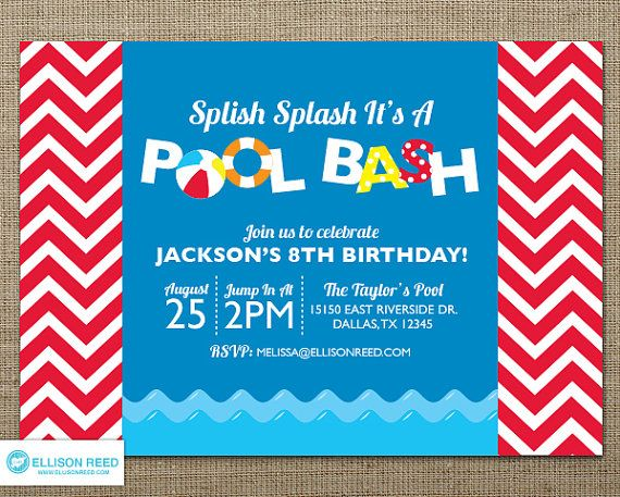 Pool Party Invitation  Pool Party Printable  Water by EllisonReed, $16.00