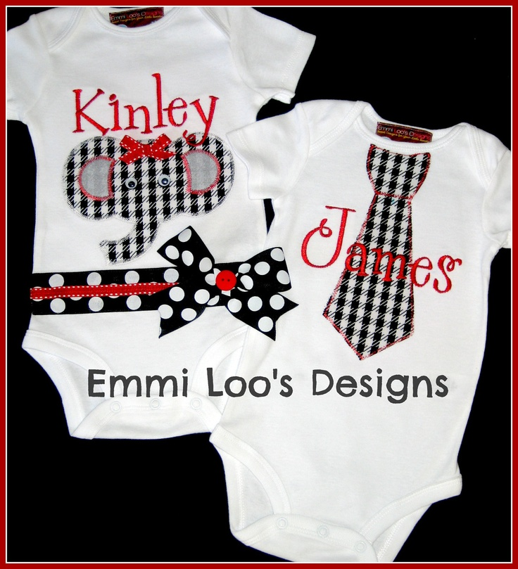 twins -siblings - matching alabama roll tide set - girl baby elephant onesie