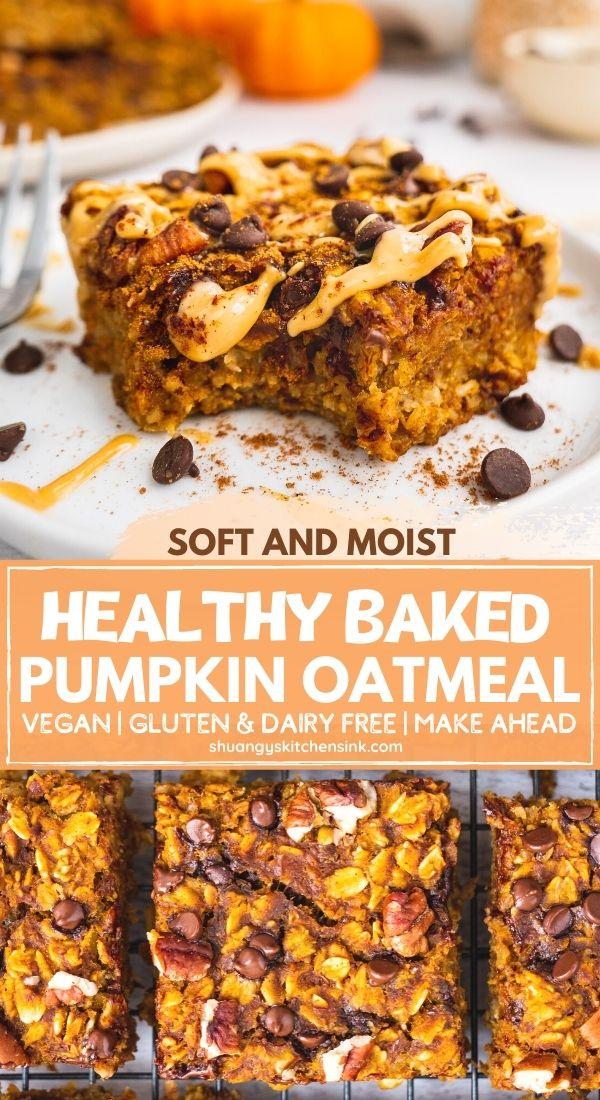 Healthy Pumpkin Oatmeal Bars Vegan Shuangy S Kitchen Sink Recipe In 2020 Pumpkin Oatmeal Baked Pumpkin Oatmeal Pumpkin Recipes