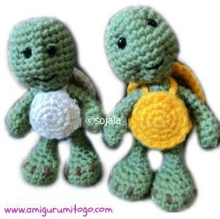 green crochet turtle ~ free pattern