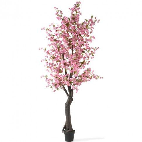 kersenbloesem boom in zwarte pot, roze zijde, 240 cm