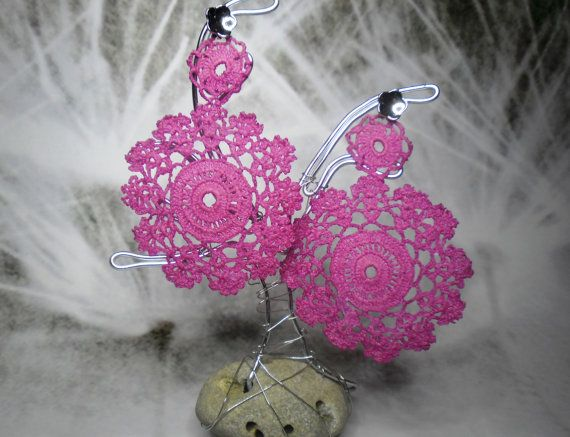 Authentic vintage lace earrings Deep pink collor by BLOWBALLgr, $24.50