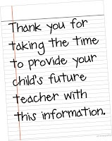 Preparing for the beginning of school with a parent-friendly student information sheet.