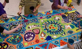 Circle paintings - group art therapy - good idea for exploring interconnectedness and boundaries.