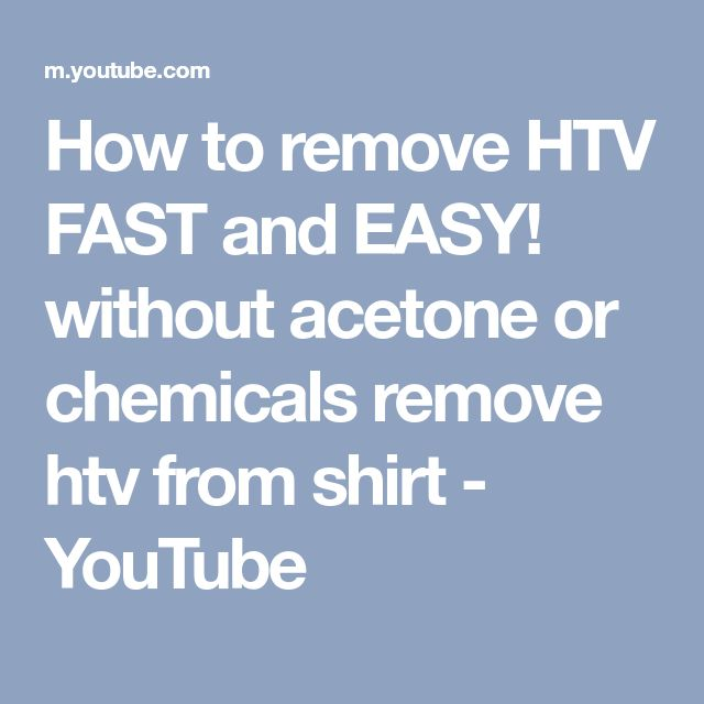 How to remove HTV FAST and EASY! without acetone or chemicals remove htv from shirt - YouTube