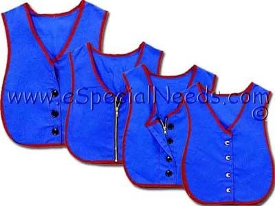 As children grow, so does their need to be more independent. These Manual Dexterity Dressing Vests help teach the essential fine motor skills needed to dress themselves every day, increasing self-esteem as they button, zip or snap their way toward great independence. Each Manual Dexterity Dressing Vest is made of a heavy-duty cotton and polyester blend. Elastic panels enable one size to fit all, so you don't have to worry about sizing.